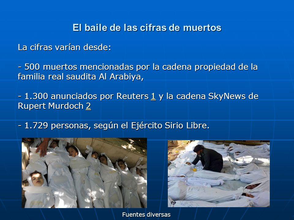 El baile de las cifras de muertos La cifras varían desde: - 500 muertos mencionadas por la cadena propiedad de la familia real saudita Al Arabiya, - 1