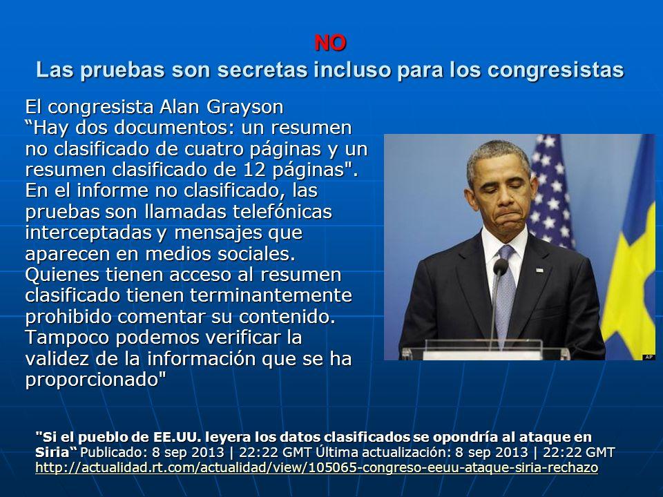 NO Las pruebas son secretas incluso para los congresistas El congresista Alan Grayson Hay dos documentos: un resumen no clasificado de cuatro páginas
