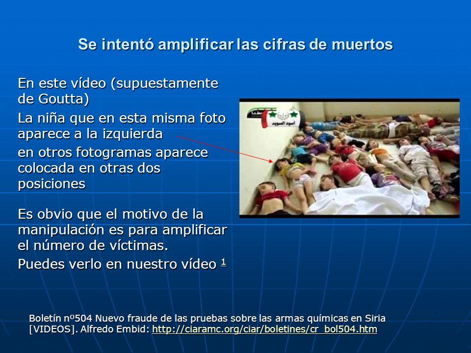 Se intentó amplificar las cifras de muertos En este vídeo (supuestamente de Goutta) La niña que en esta misma foto aparece a la izquierda en otros fot