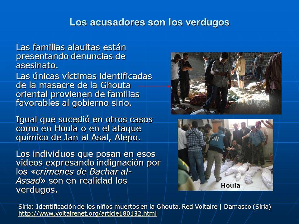 Los acusadores son los verdugos Las familias alauitas están presentando denuncias de asesinato. Las únicas víctimas identificadas de la masacre de la