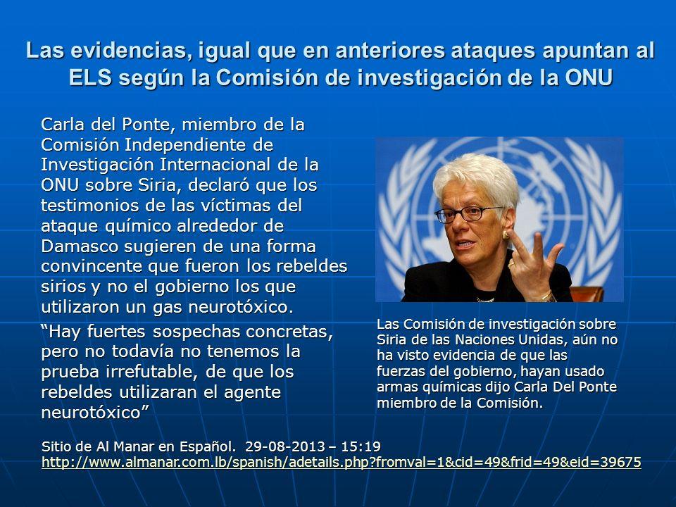 Las evidencias, igual que en anteriores ataques apuntan al ELS según la Comisión de investigación de la ONU Carla del Ponte, miembro de la Comisión In