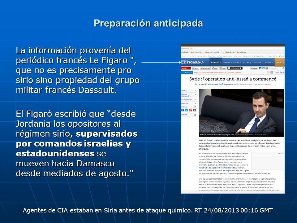 Preparación anticipada La información provenía del periódico francés Le Figaro
