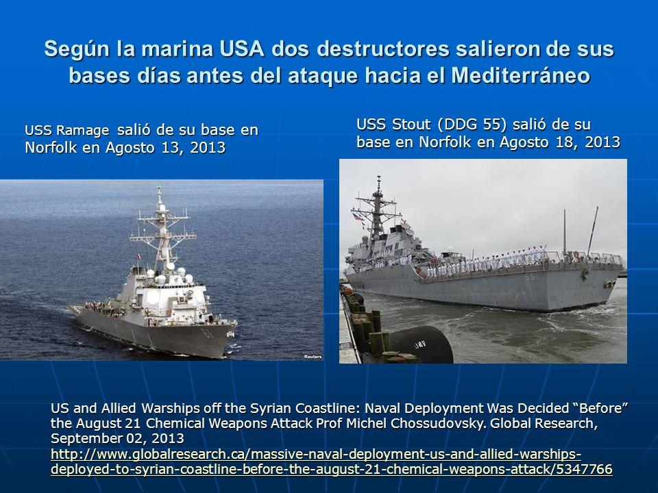 Según la marina USA dos destructores salieron de sus bases días antes del ataque hacia el Mediterráneo US and Allied Warships off the Syrian Coastline