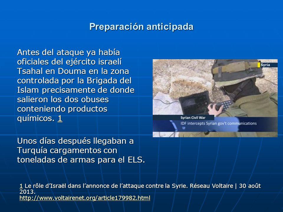 Preparación anticipada Antes del ataque ya había oficiales del ejército israelí Tsahal en Douma en la zona controlada por la Brigada del Islam precisa