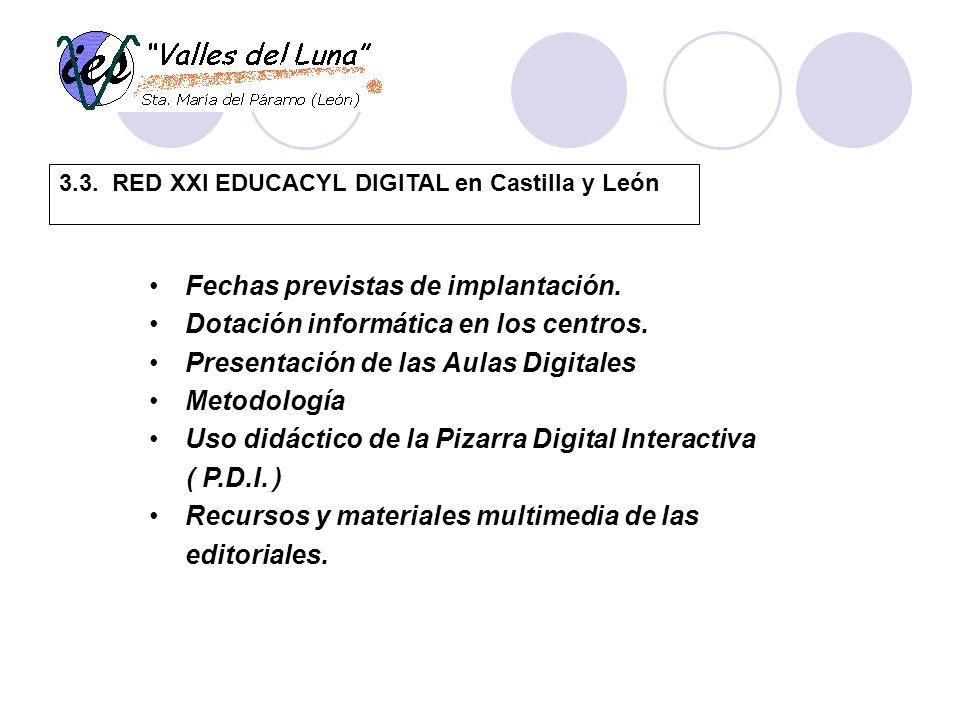 3.3. RED XXI EDUCACYL DIGITAL en Castilla y León Fechas previstas de implantación.