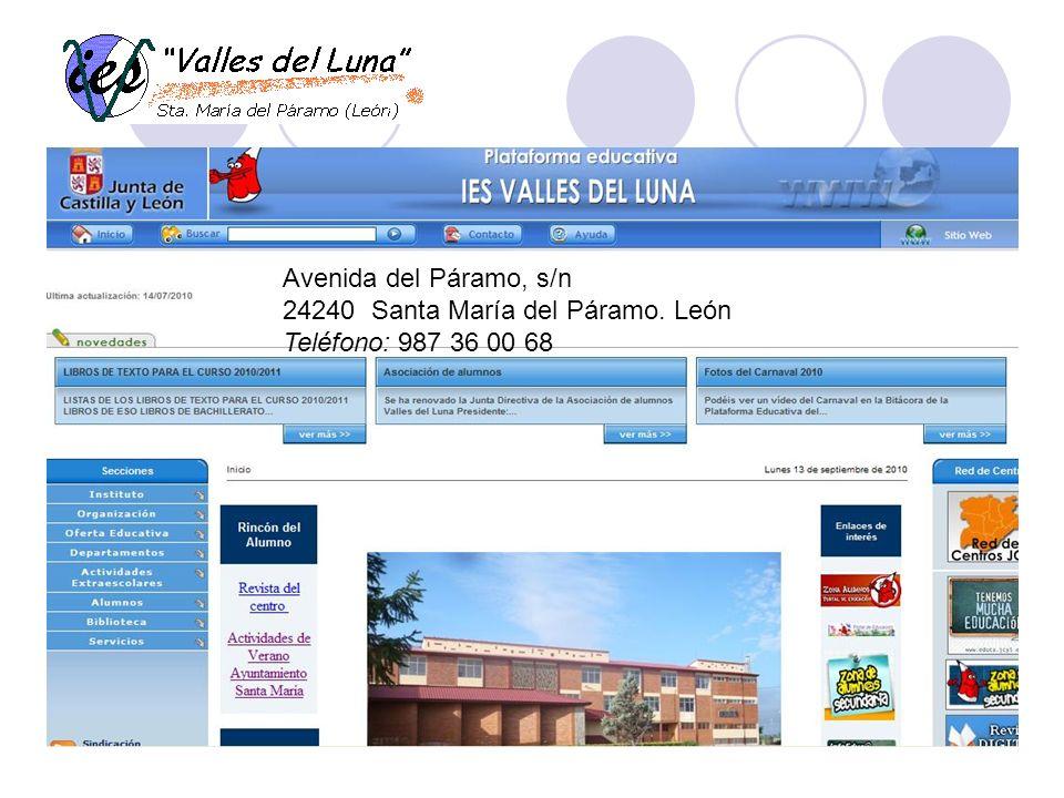 Avenida del Páramo, s/n 24240 Santa María del Páramo. León Teléfono: 987 36 00 68