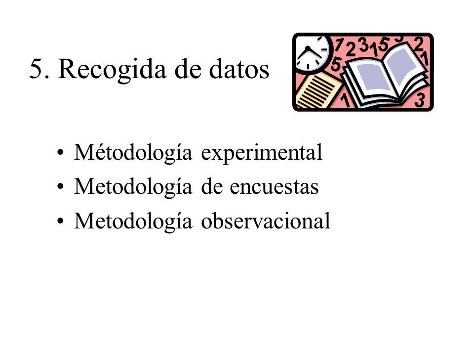 5. Recogida de datos Métodología experimental Metodología de encuestas Metodología observacional