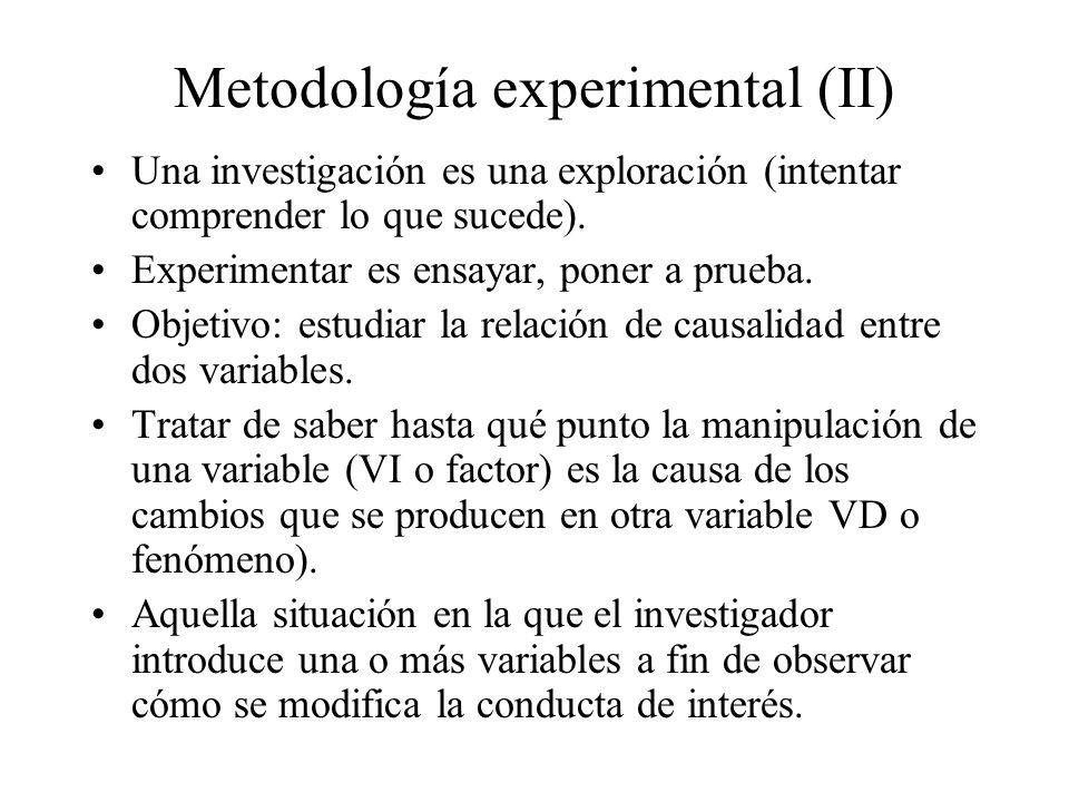 Metodología experimental (II) Una investigación es una exploración (intentar comprender lo que sucede). Experimentar es ensayar, poner a prueba. Objet