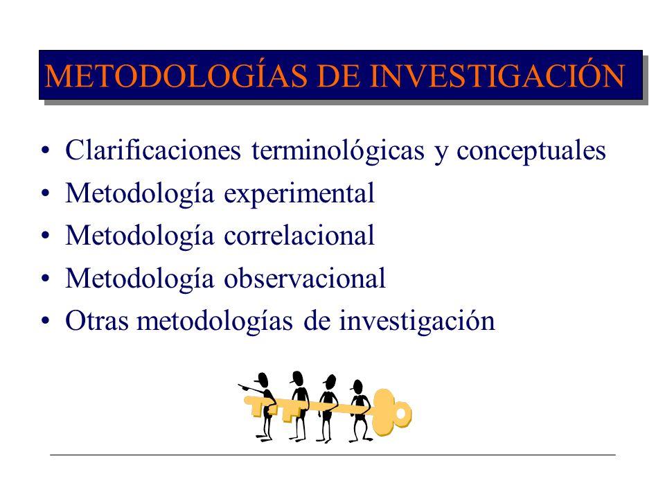 METODOLOGÍAS DE INVESTIGACIÓN Clarificaciones terminológicas y conceptuales Metodología experimental Metodología correlacional Metodología observacion