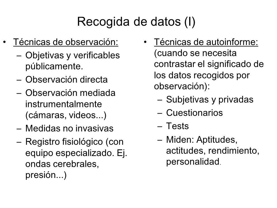 Recogida de datos (I) Técnicas de observación: –Objetivas y verificables públicamente. –Observación directa –Observación mediada instrumentalmente (cá