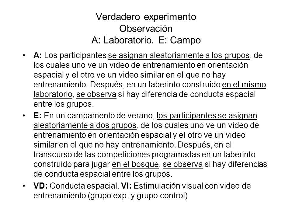 Verdadero experimento Observación A: Laboratorio. E: Campo A: Los participantes se asignan aleatoriamente a los grupos, de los cuales uno ve un video