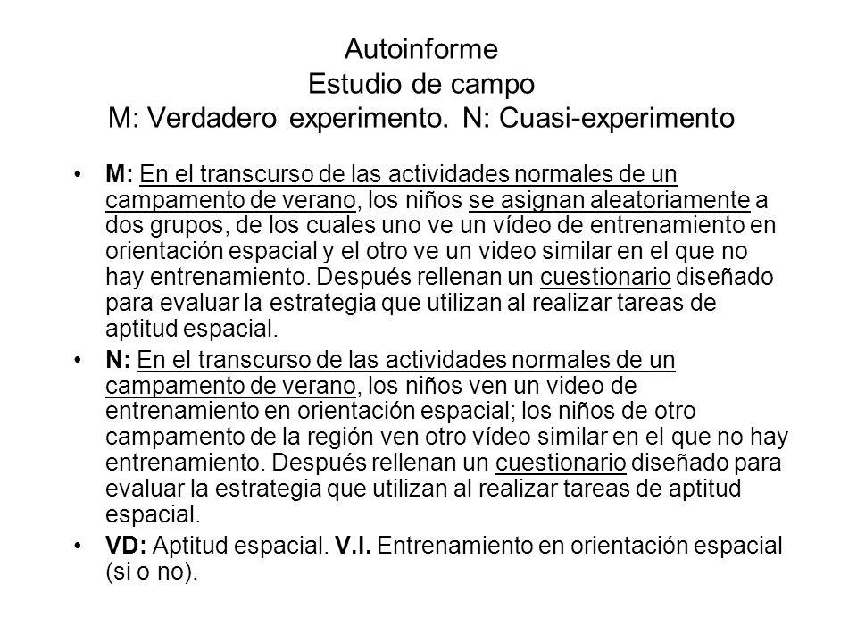 Autoinforme Estudio de campo M: Verdadero experimento. N: Cuasi-experimento M: En el transcurso de las actividades normales de un campamento de verano