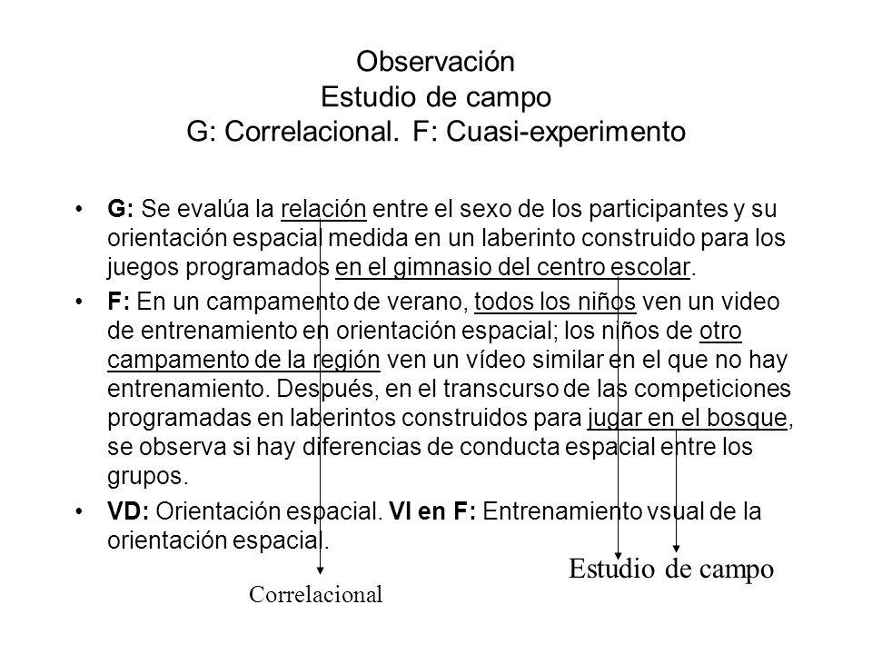 Observación Estudio de campo G: Correlacional. F: Cuasi-experimento G: Se evalúa la relación entre el sexo de los participantes y su orientación espac