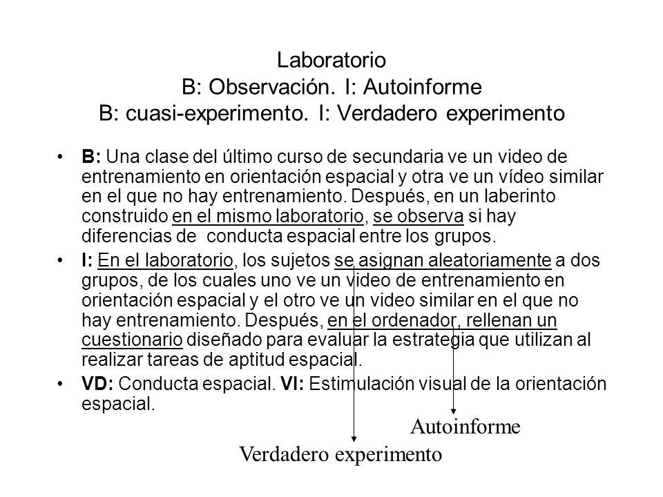 Laboratorio B: Observación. I: Autoinforme B: cuasi-experimento. I: Verdadero experimento B: Una clase del último curso de secundaria ve un video de e
