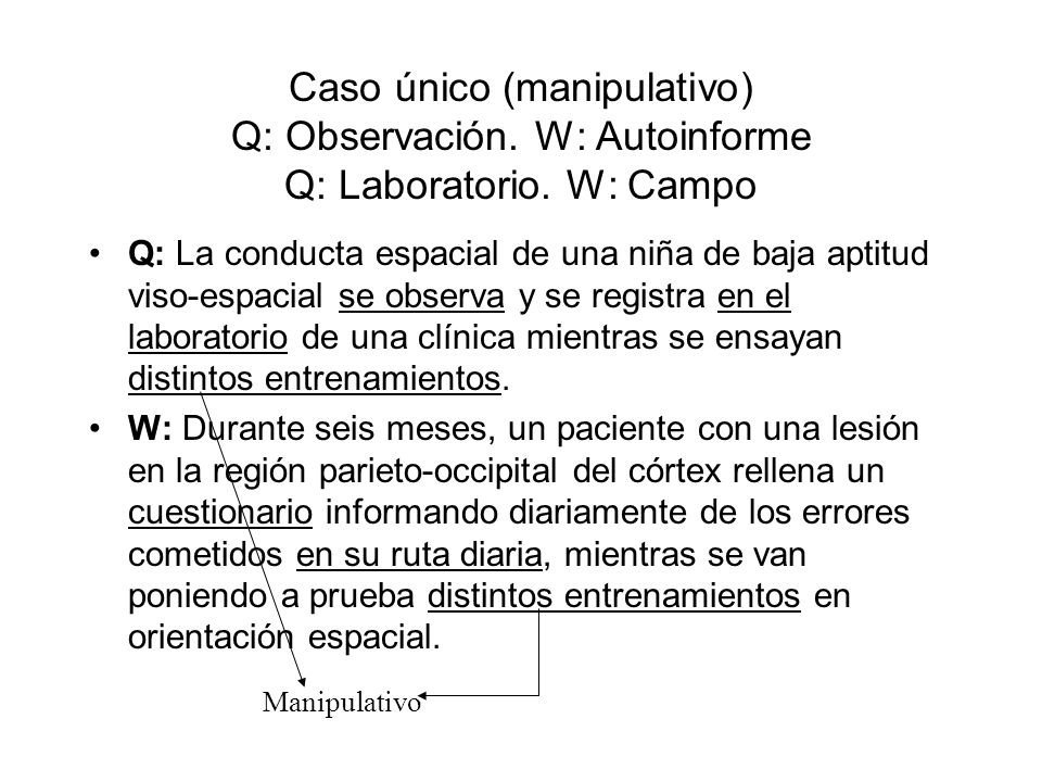 Caso único (manipulativo) Q: Observación. W: Autoinforme Q: Laboratorio. W: Campo Q: La conducta espacial de una niña de baja aptitud viso-espacial se