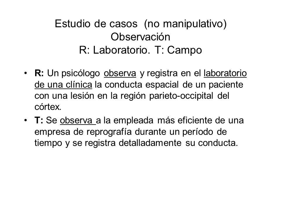 Estudio de casos (no manipulativo) Observación R: Laboratorio. T: Campo R: Un psicólogo observa y registra en el laboratorio de una clínica la conduct