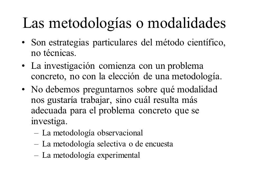 Las metodologías o modalidades Son estrategias particulares del método científico, no técnicas. La investigación comienza con un problema concreto, no