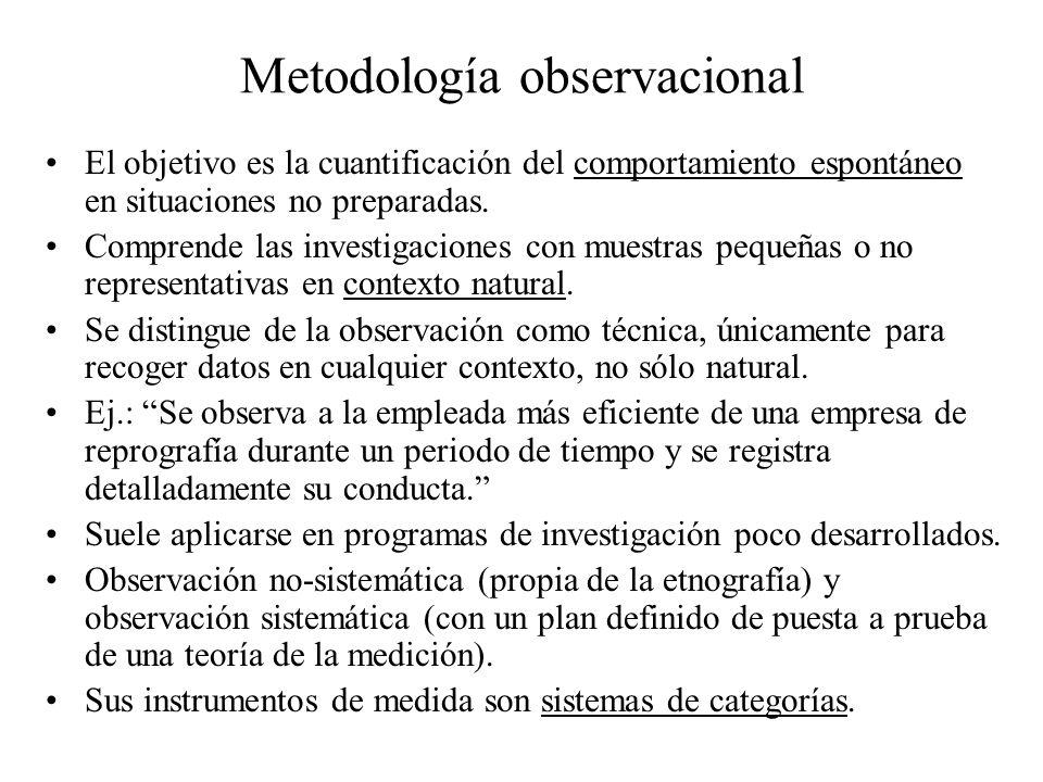 Metodología observacional El objetivo es la cuantificación del comportamiento espontáneo en situaciones no preparadas. Comprende las investigaciones c