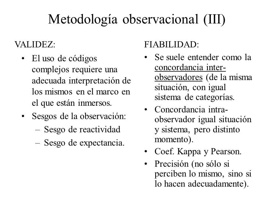 Metodología observacional (III) El uso de códigos complejos requiere una adecuada interpretación de los mismos en el marco en el que están inmersos. S