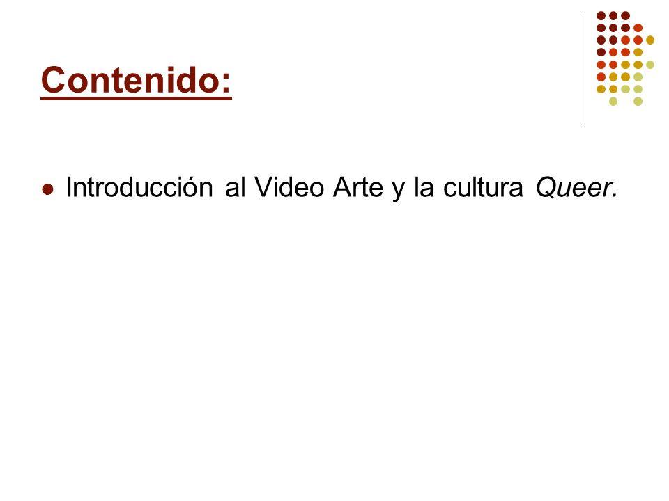 Contenido: Introducción al Video Arte y la cultura Queer.