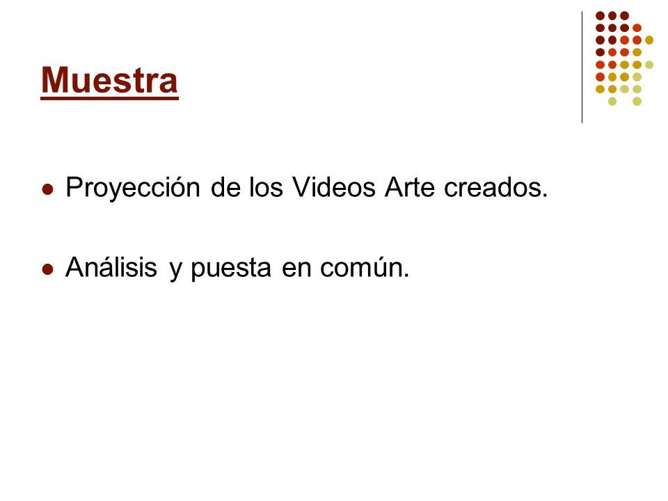 Muestra Proyección de los Videos Arte creados. Análisis y puesta en común.