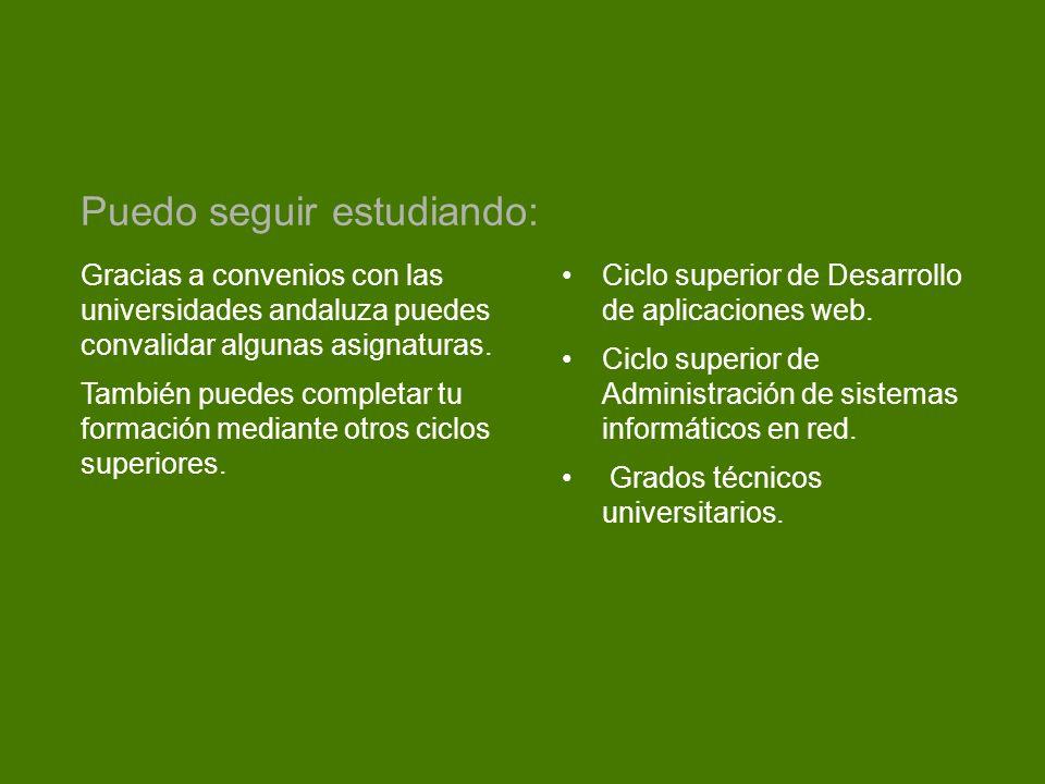 Gracias a convenios con las universidades andaluza puedes convalidar algunas asignaturas. También puedes completar tu formación mediante otros ciclos