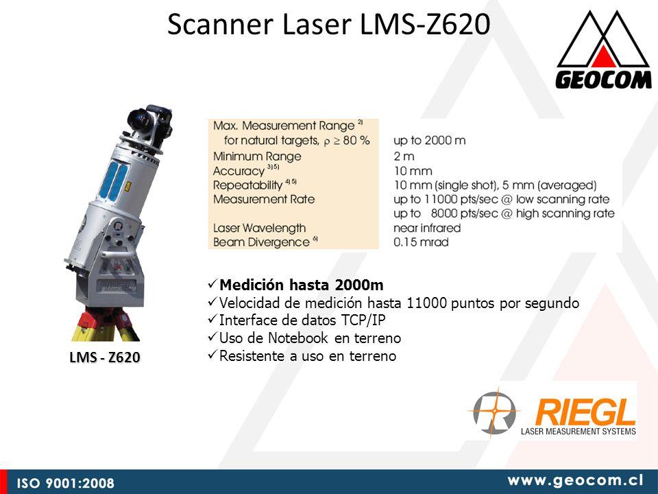 Scanner Laser LMS-Z620 LMS - Z620 Medición hasta 2000m Velocidad de medición hasta 11000 puntos por segundo Interface de datos TCP/IP Uso de Notebook en terreno Resistente a uso en terreno