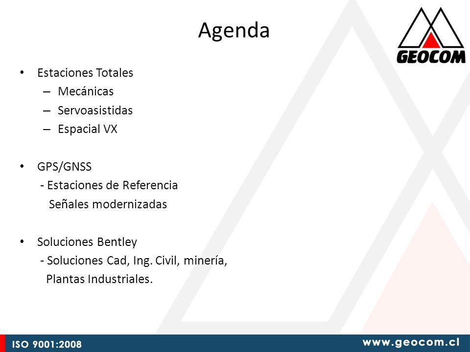 Agenda Estaciones Totales – Mecánicas – Servoasistidas – Espacial VX GPS/GNSS - Estaciones de Referencia Señales modernizadas Soluciones Bentley - Soluciones Cad, Ing.