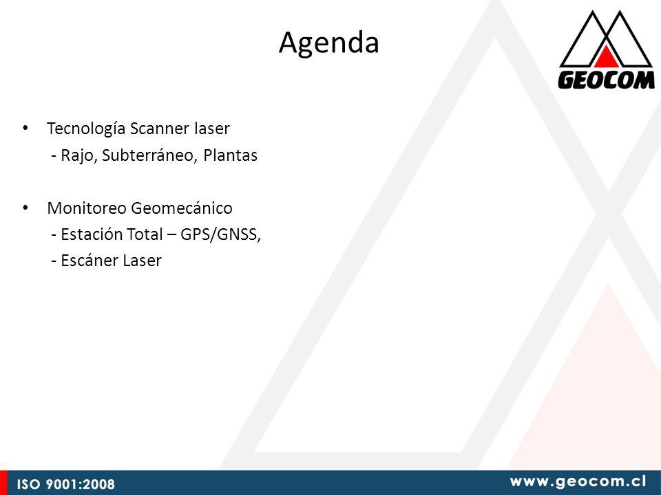 Agenda Tecnología Scanner laser - Rajo, Subterráneo, Plantas Monitoreo Geomecánico - Estación Total – GPS/GNSS, - Escáner Laser