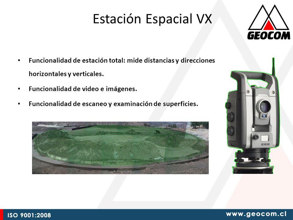 Funcionalidad de estación total: mide distancias y direcciones horizontales y verticales.