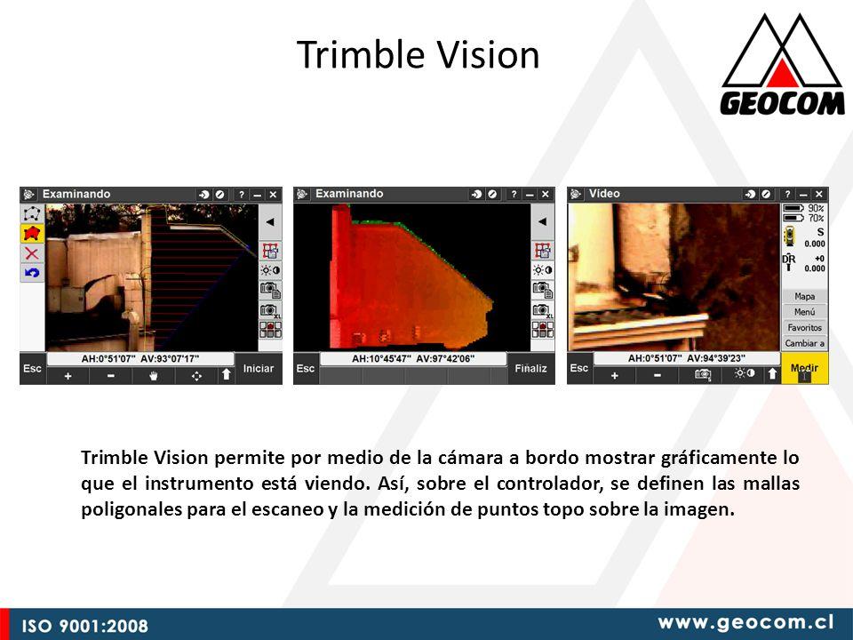 Trimble Vision Trimble Vision permite por medio de la cámara a bordo mostrar gráficamente lo que el instrumento está viendo.