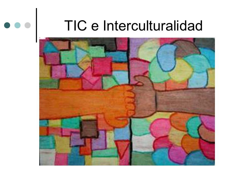 TIC e Interculturalidad http://usuario.tiscali.es/a_pantoja/webquest/intercultu/conocer_inter/INICIO2.htm Webquest sobre interculturalidad, dirigida a alumnos http://www.aulaintercultural.org/article.php3?id_article=54 Aula intercultural de FTE – UGT http://www.ua-ambit.org/Interculturalidad.htm Trabajos de libre divulgación sobre interculturalidad http://www.fuhem.es/portal/areas/paz/EDUCA/intercul/interc.htm Materiales y propuestas diversas http://directorio-guia.congde.org/guiaderecursos/tematica.php?valor=Interculturalidad De la coordinadora de ONGs española.