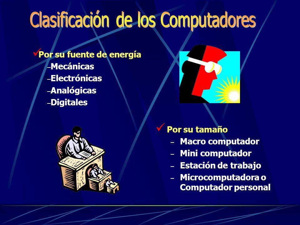 Por su tamaño – Macro computador – Mini computador – Estación de trabajo – Microcomputadora o Computador personal Por su fuente de energía – Mecánicas – Electrónicas – Analógicas – Digitales