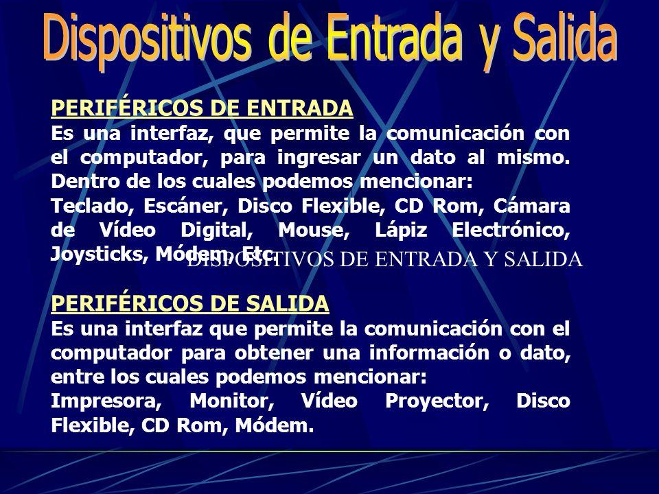 PERIFÉRICOS DE ENTRADA Es una interfaz, que permite la comunicación con el computador, para ingresar un dato al mismo.