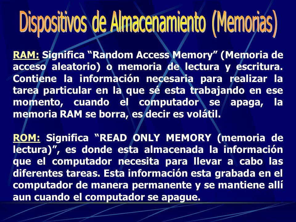 RAM: Significa Random Access Memory (Memoria de acceso aleatorio) o memoria de lectura y escritura.
