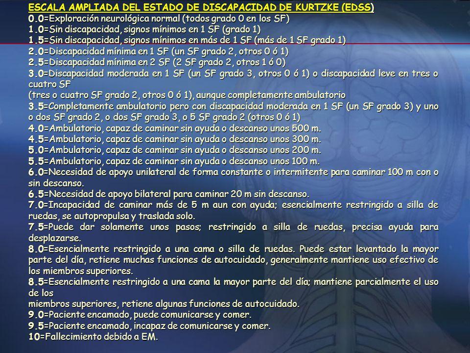 Escalas para valorar el grado de severidad 1. Escala de Disfunción Neurológica EDSS de Kurtzke (Expanded Disability Status Scale): Permite el seguimie