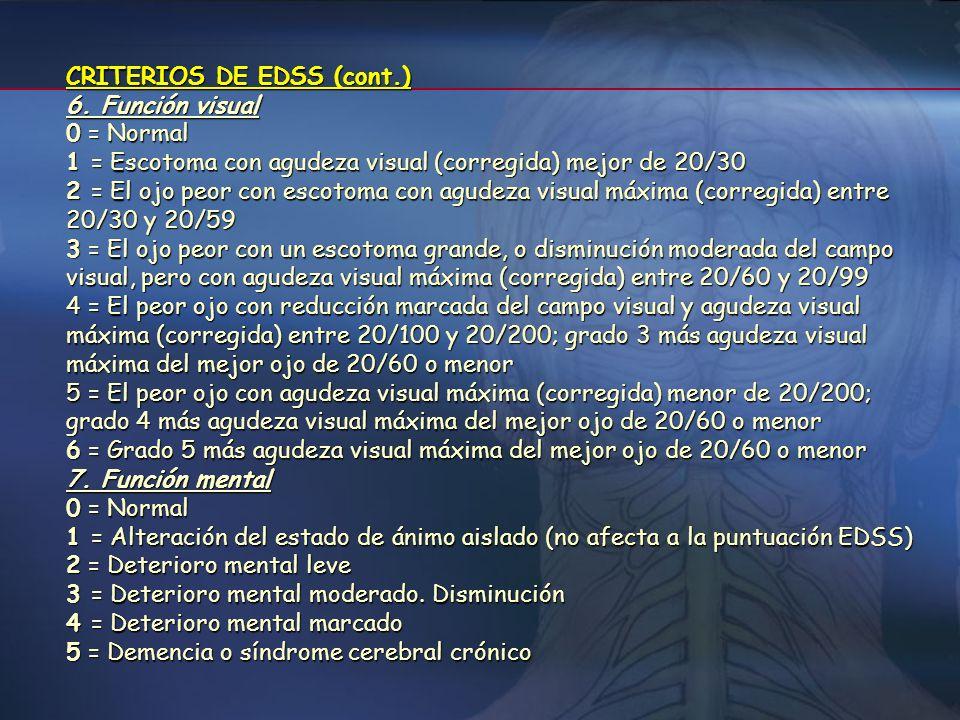 CRITERIOS DE EDSS (cont.) 4. Función sensitiva 0 = Normal 1 = Disminución de sensibilidad vibratorio o grafestésicaen uno o dos miembros 2 = Disminuci