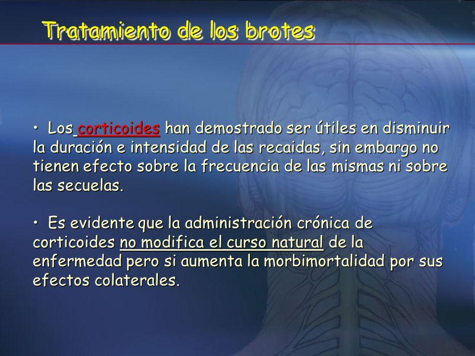 TratamientoTratamiento 1- Tratamiento destinado a modificar el curso de la enfermedad 2- Tratamiento sintomático Tratamiento de los brotes Tratamiento