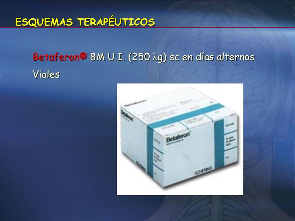 Interferon -1b (Betaferon®) Similar al humano, aunque con distinta secuencia de aminoácidos, no glicosilado y con mayor capacidad antigénica, obtenido