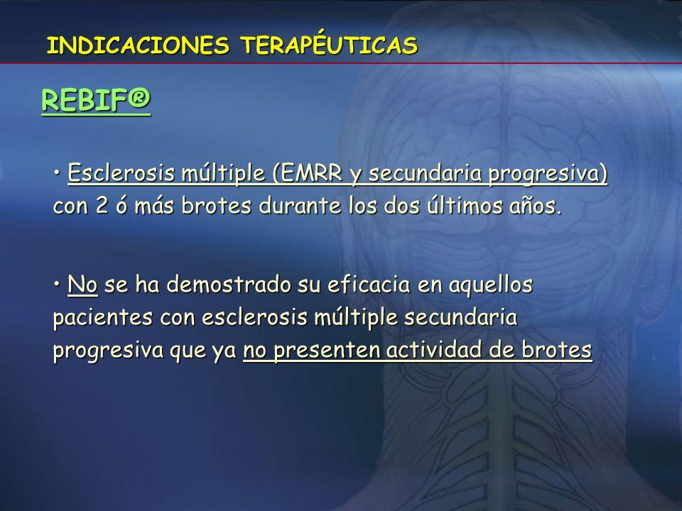 INDICACIONES TERAPÉUTICAS AVONEX® Tto de pacientes capaces de andar con formas recidivantes de EM con al menos 2 recaídas durante los últimos 3 años s