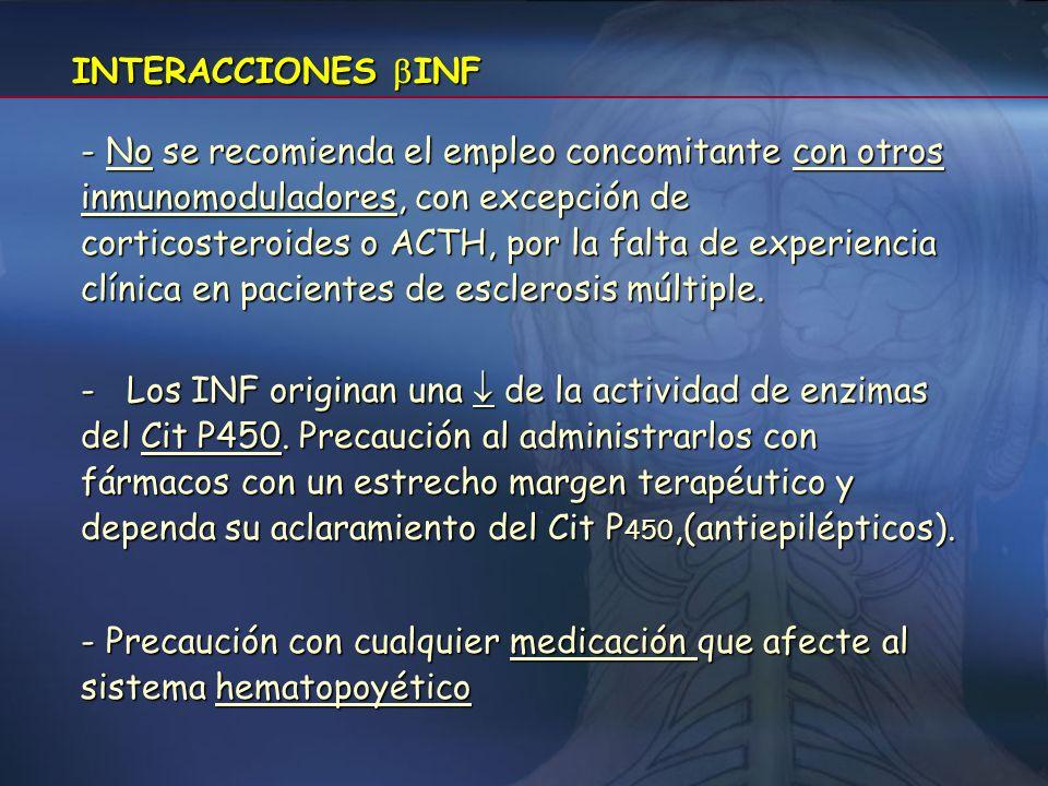 CONTRAINDICACIONES INF - Hipersensibilidad al interferón beta recombinante o natural, a la albúmina sérica humana o a cualquier otroexcipiente. - Paci