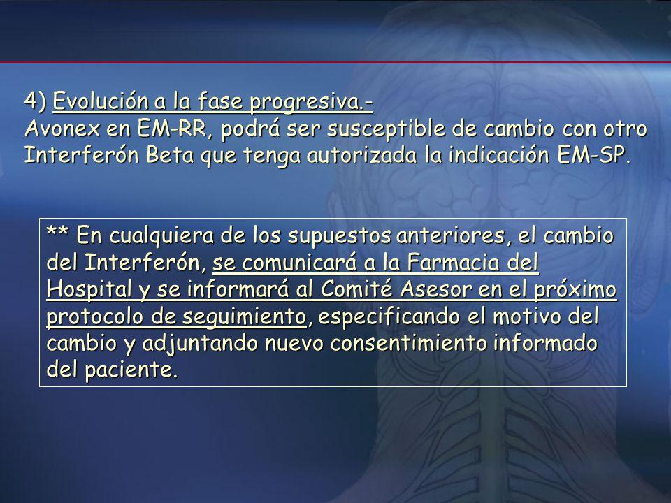 4- Cambio de tratamiento con INF Beta 1) Reacciones adversas.- Se recomienda disminución o incluso supresión temporal del fármaco, aplicación de otras