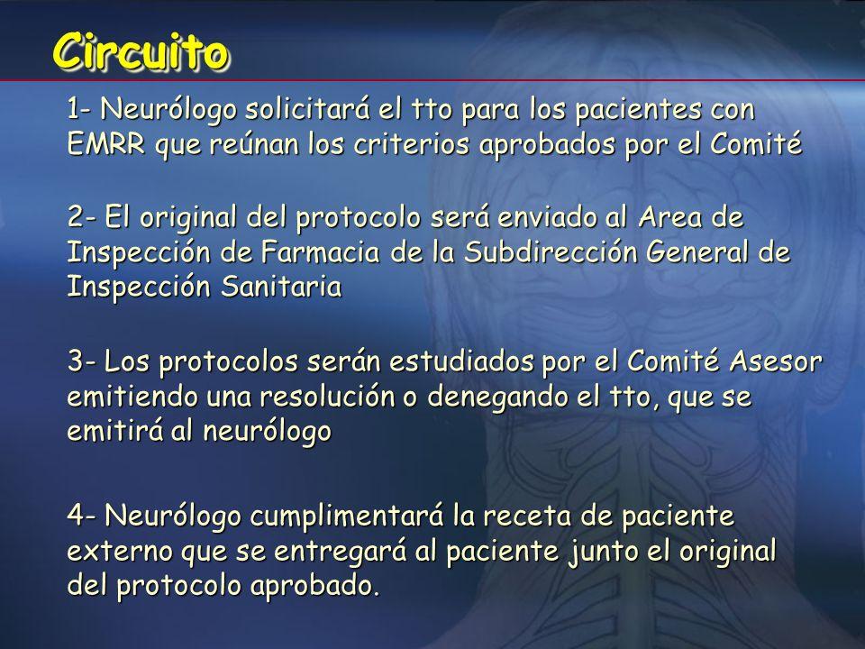 Criterios de utilización del Copaxone ® Edad igual o superior a 18 años (el Comité valorará solicitudes de tratamiento de pacientes con edad igual o s