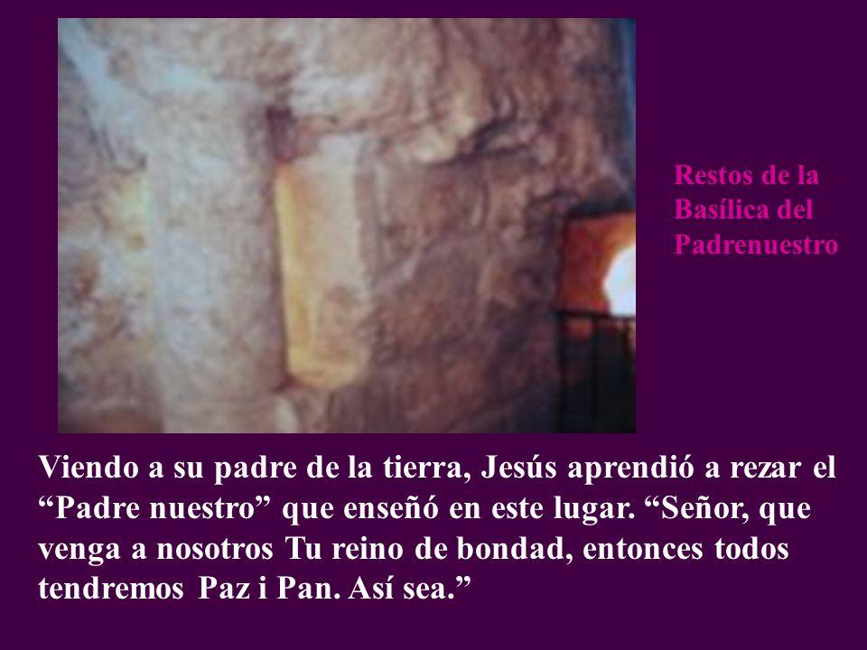 Viendo a su padre de la tierra, Jesús aprendió a rezar el Padre nuestro que enseñó en este lugar. Señor, que venga a nosotros Tu reino de bondad, ento