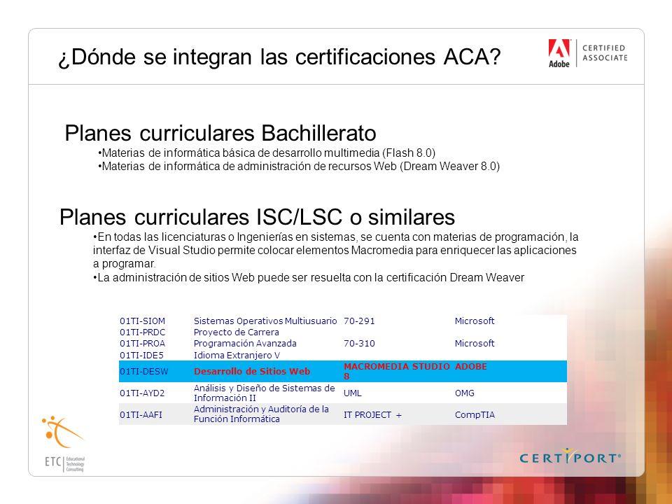 ¿Dónde se integran las certificaciones ACA? Planes curriculares Bachillerato Materias de informática básica de desarrollo multimedia (Flash 8.0) Mater