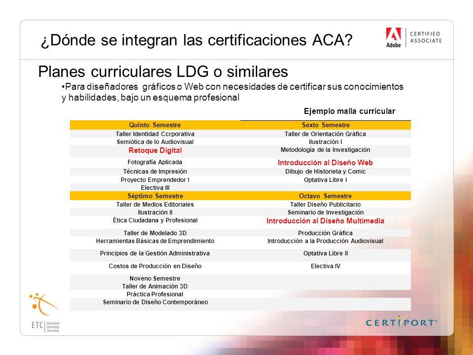 ¿Dónde se integran las certificaciones ACA? Planes curriculares LDG o similares Para diseñadores gráficos o Web con necesidades de certificar sus cono