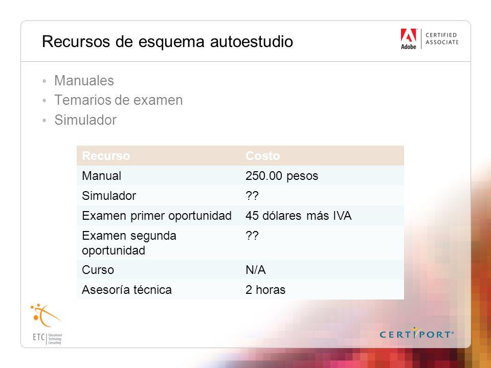 Recursos de esquema autoestudio Manuales Temarios de examen Simulador RecursoCosto Manual250.00 pesos Simulador?? Examen primer oportunidad45 dólares