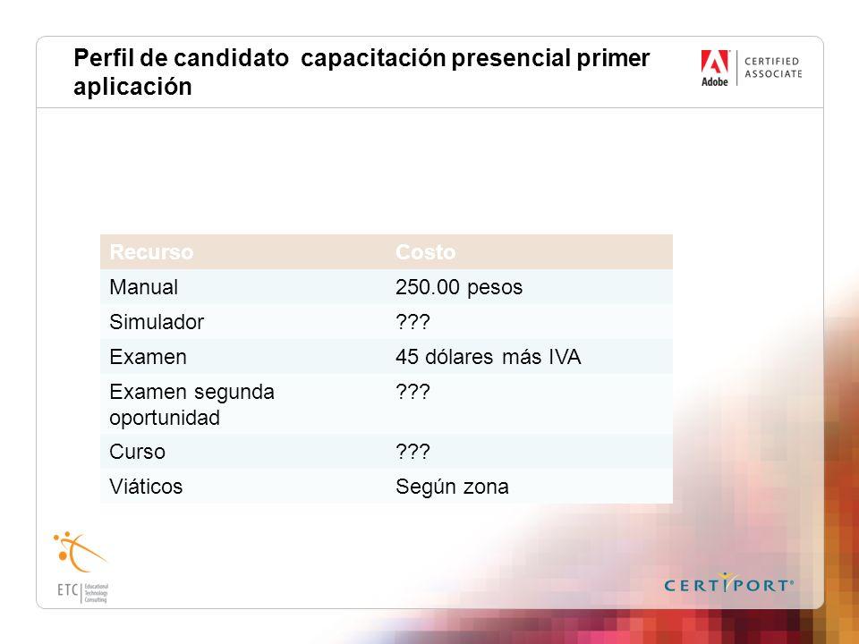 Perfil de candidato capacitación presencial primer aplicación RecursoCosto Manual250.00 pesos Simulador??? Examen45 dólares más IVA Examen segunda opo