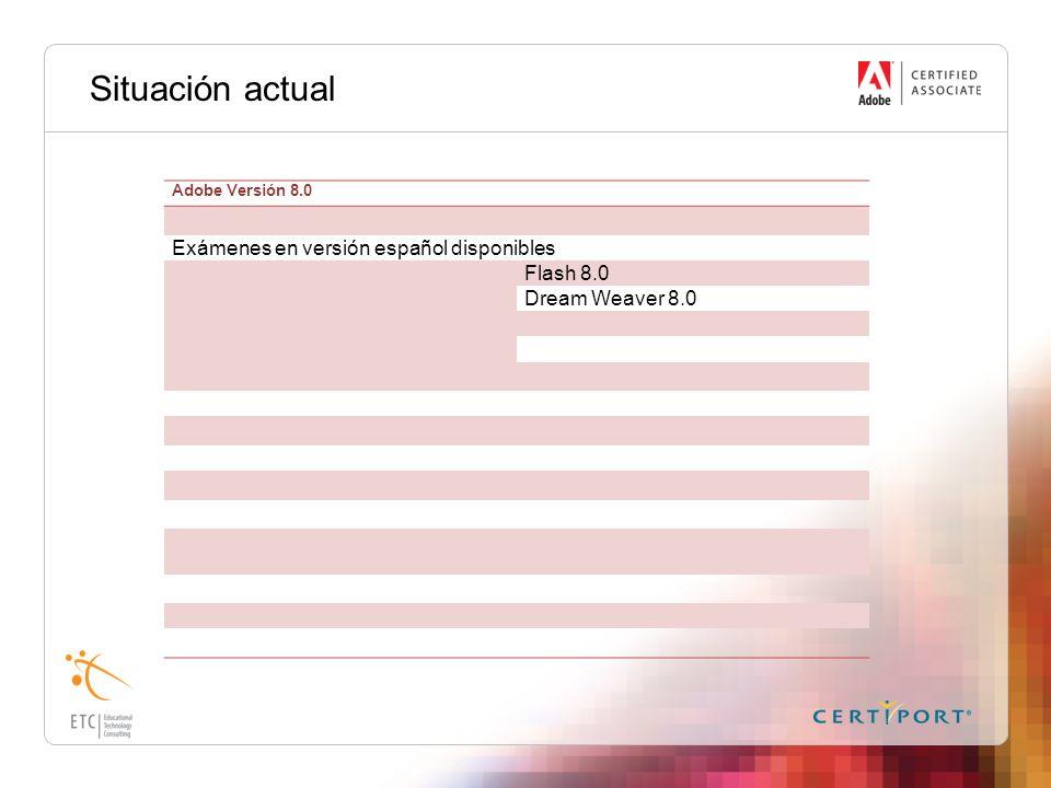 Situación actual Adobe Versión 8.0 Exámenes en versión español disponibles Flash 8.0 Dream Weaver 8.0