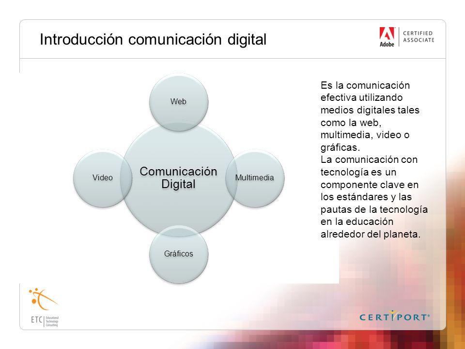 Introducción comunicación digital Comunicación Digital WebMultimediaGráficosVideo Es la comunicación efectiva utilizando medios digitales tales como l